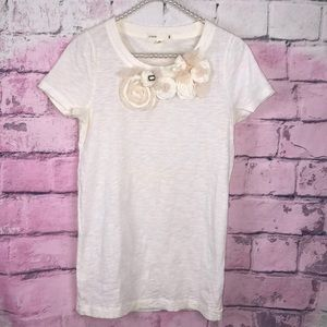 J.Crew Tulle Roses Tee Ivory T-shirt size XS